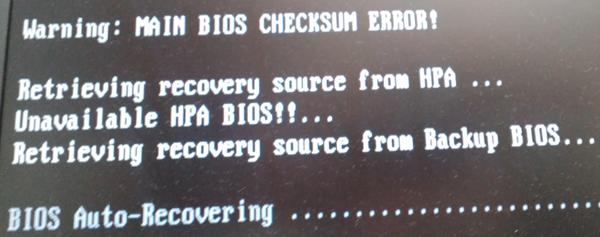 MAIN BIOS CHECKSUM ERROR!