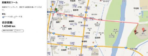 豊田の駅前から豊田スタジアムまで距離