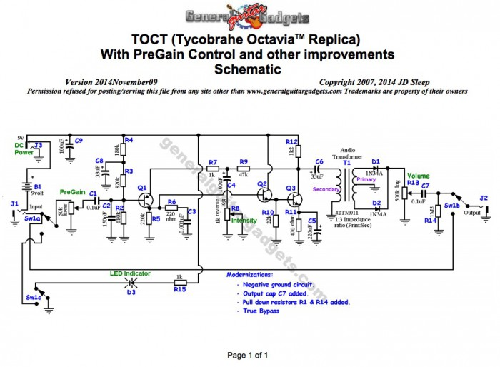Tycobrahe octavia モディファイ回路図
