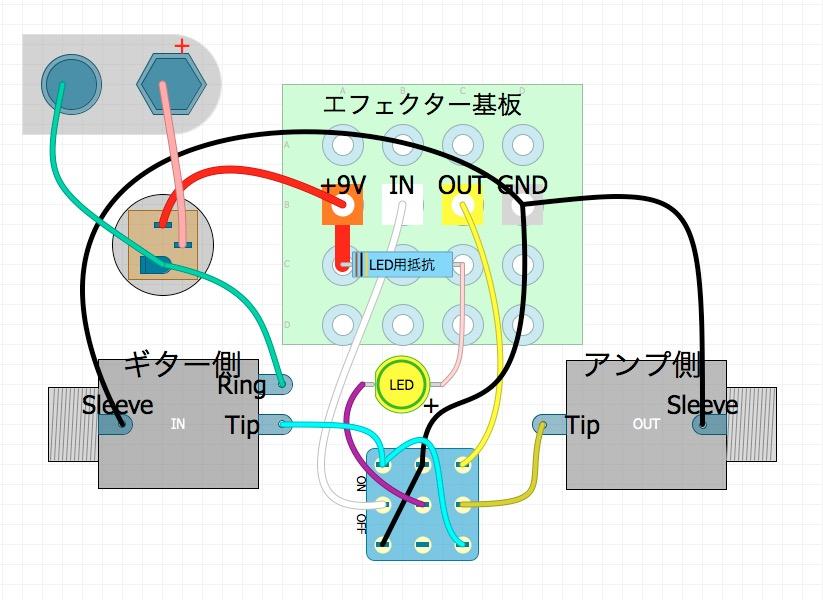 トゥルーバイパス配線の方法(3PDTスイッチの配線)#3