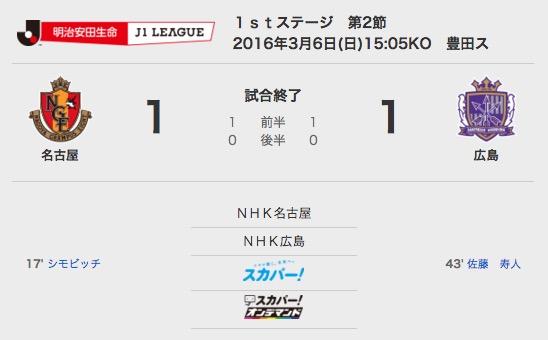 2016/03/06 J1-1stステージ-2節 ホーム 広島戦