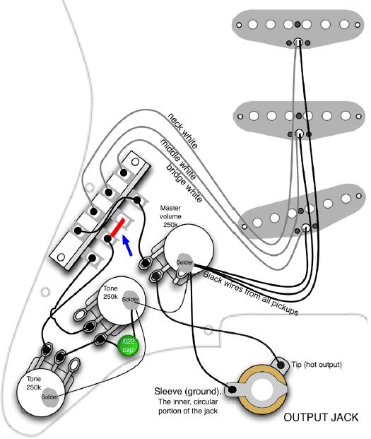 ストラトのリアにトーンを効かせる配線図