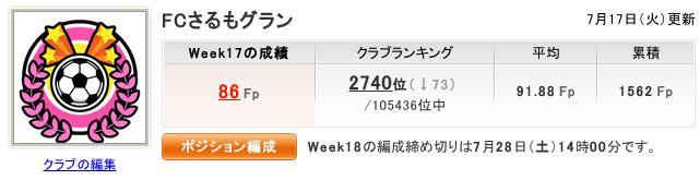 2012 Week17 結果 86Fp