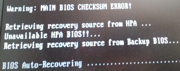 MAIN BIOS CHECKSUM ERROR!