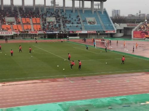試合中、雨は上がっていました