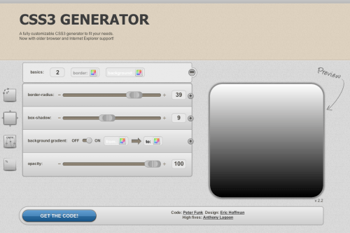 CSS3 Generator - By Peter Funk & Eric Hoffman