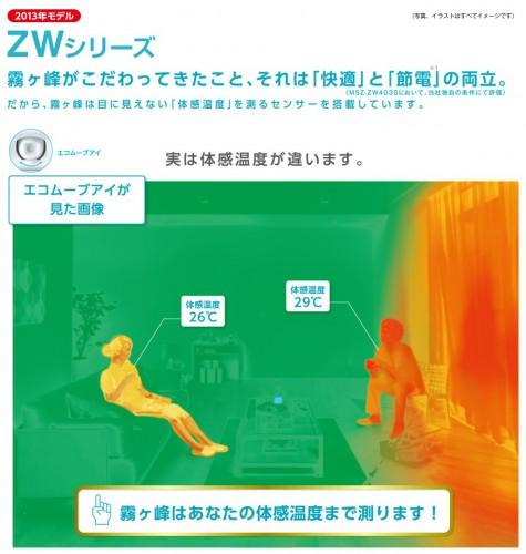 ハイブリッド霧ヶ峰 MSZ-ZW403S-W