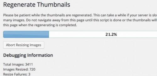 Regenerate Thumbnailsプラグインでサムネイルを再取得中