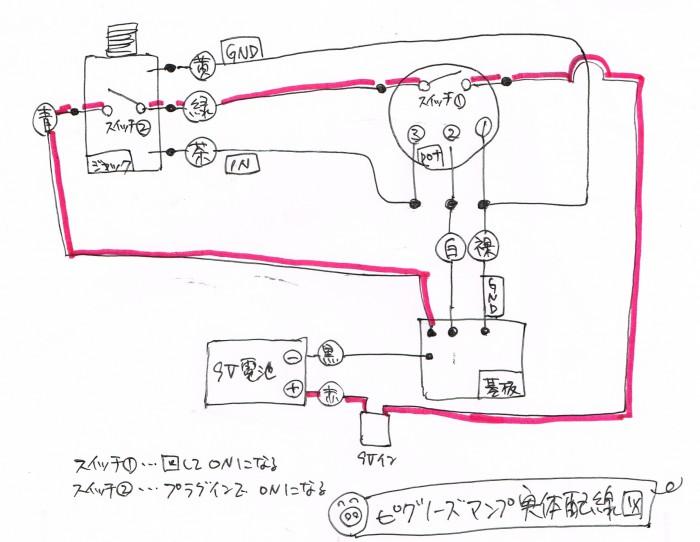 ピグノーズ・アンプの実体配線図