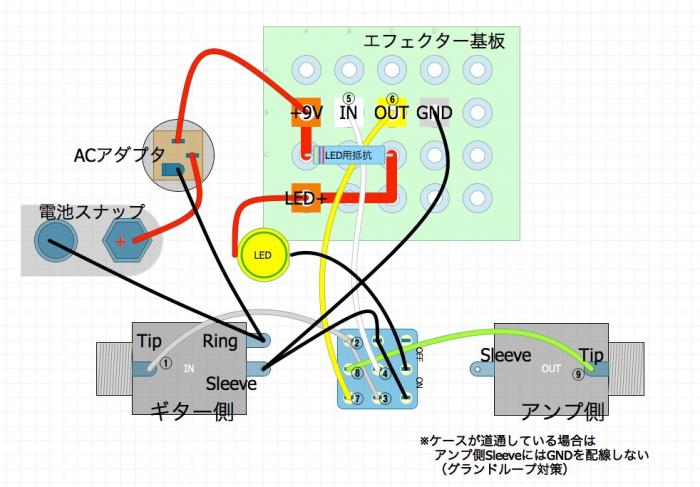 トゥルーバイパス配線の方法(3PDTスイッチの配線)#1